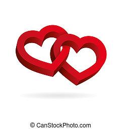 entrelaçado, tridimensional, valentine, volume., dois, ilusão, experiência., óptico, corações, branca, dia, 3d