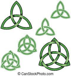 entrelacé, conception, wiccan, cercle, triqueta, symbole