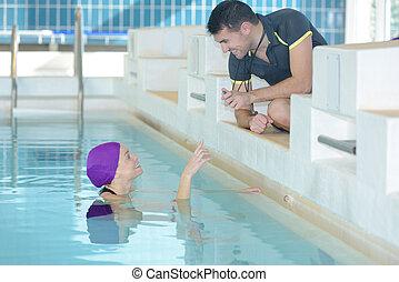 entrenador, centro, nadador, actuación, ocio, cronómetro,...