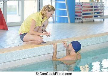 entrenador, centro, nadador, ocio, entrenamiento, hembra