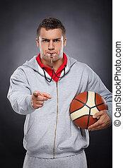 entrenador, descontentado, enojado, joven, silbido, trainer...