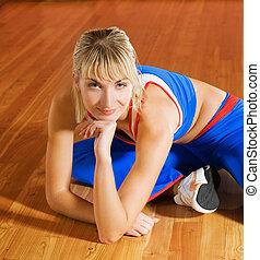 entrenador, después, relajante, ejercicio, condición física
