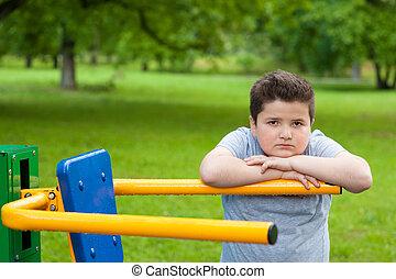 entrenador, ejercicio, niño, peso, niño, grasa, deporte, condición física, perder, fuerte