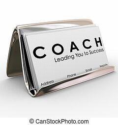 entrenador, entrenador, empresa / negocio, contratista, mentor, líder del equipo, tarjeta, inspiración