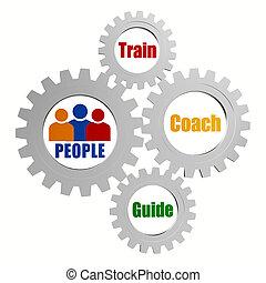 entrenador, gente, tren, gris, guía, engranajes, señales,...