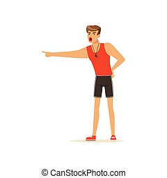 entrenador, gritar, ilustración, vector, condición física, profesional, instructor, o