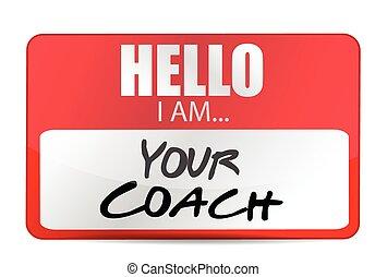 entrenador, ilustración, hola, etiqueta, diseño, su