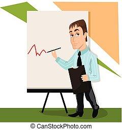 entrenador, lector, tabla, presentación, o, estante
