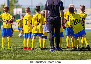 entrenador, mirar, game., fútbol, juventud, jugadores,...