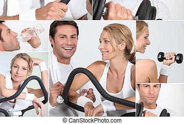 entrenador, mujer, collage, cruz, feliz, hombre