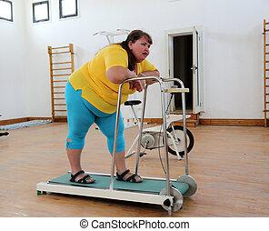 entrenador, mujer, sobrepeso, noria, cansado