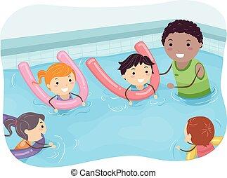 entrenador natación, stickman, niños
