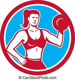 entrenador, personal, hembra, círculo, dumbbell, elevación