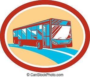 entrenador, turista, autobús, lanzadera, retro, oval