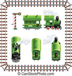 entrenador, vendimia, conjunto, verde, locomotora