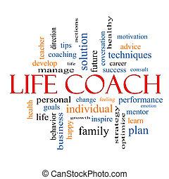entrenador, vida, concepto, palabra, nube