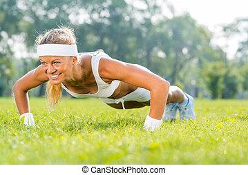 entrenamiento, al aire libre