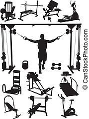 entrenamiento, aparato, deportes