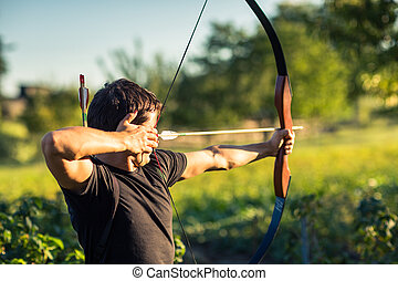 entrenamiento, arquero, joven, arco
