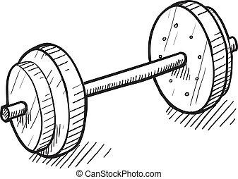 entrenamiento, bosquejo, barra con pesas