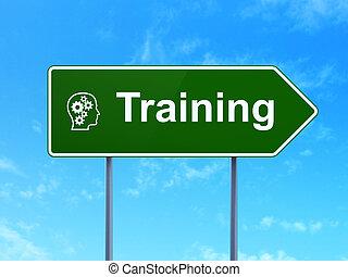 entrenamiento, cabeza, señal,  concept:, engranajes, Plano de fondo, educación, camino
