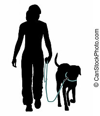 entrenamiento, command:, leash!, perro, (obedience):, ir