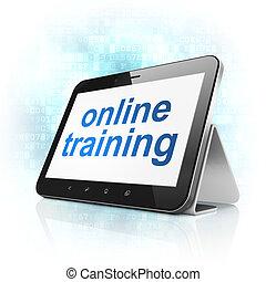 entrenamiento, computadora personal tableta, computadora, educación en línea, concept: