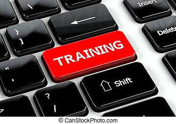 entrenamiento, computadora, plano de fondo, teclado, educación, concept: