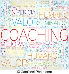 entrenamiento, concepto, palabras,  T, relacionado