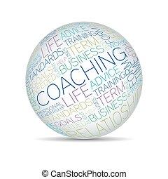 entrenamiento, concepto, relacionado, palabras, en, esfera, etiqueta, nube