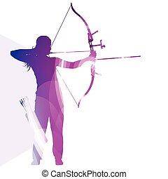 entrenamiento, concepto, silueta, colorido, arquero, ilustración, arco, vector, plano de fondo, hombre