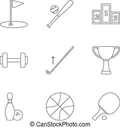 entrenamiento, contorno, iconos, conjunto, accesorios, estilo