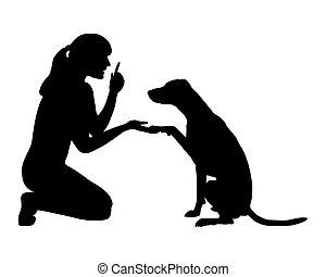 entrenamiento del perro, (obedience):, command:, pata