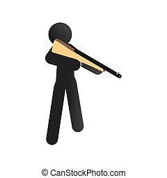 entrenamiento, deporte, icono, isométrico, hombre, disparando, 3d