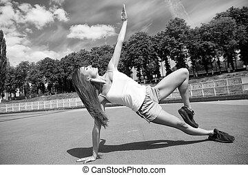 entrenamiento, ejercicio, day., sexy, sano, atlético, niña,...