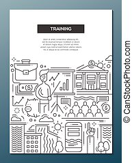 entrenamiento, empresa / negocio, cartel, -, diseño, a4, plantilla, folleto, línea