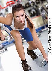 entrenamiento, en, gimnasio