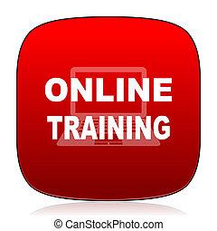entrenamiento, en línea, icono