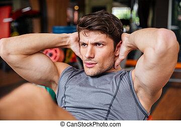 entrenamiento, encima de cierre, prensa, retrato, gimnasio, ...
