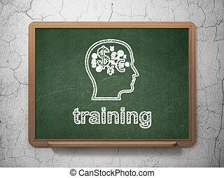 entrenamiento, finanzas, símbolo, cabeza, pizarra, Plano de fondo, educación,  concept: