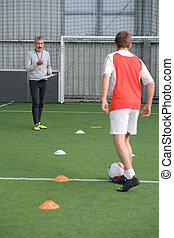 entrenamiento, gimnasio, interior, futsal, futbol, niños