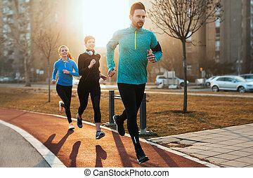 entrenamiento, grupo, deportivo, sano, determinado, condición física, toge, amigos