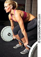 entrenamiento, hembra, condición física