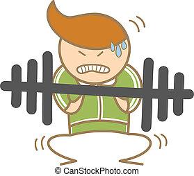 entrenamiento, hombre, carácter, caricatura, barra con pesas