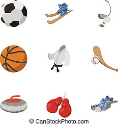 entrenamiento, iconos, conjunto, estilo, accesorios, caricatura