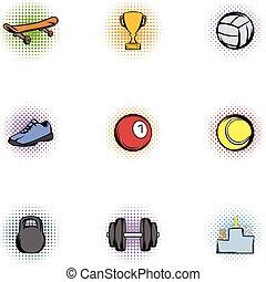 entrenamiento, iconos, conjunto, estilo, accesorios, pop-art