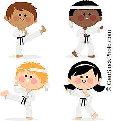 entrenamiento, ilustración, marcial, vector, arts., niños
