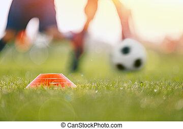 entrenamiento, imagen, primer plano, soleado, jugadores, corriente, cono, niños, futbol, day., duelo, field., marcador, después, pasto o césped, campo, deportes de pelota, verano, turf.