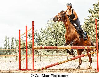 entrenamiento, jinete, mujer, actividad, equitación, deporte...
