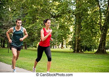 entrenamiento, juntos, -, pareja joven, jogging